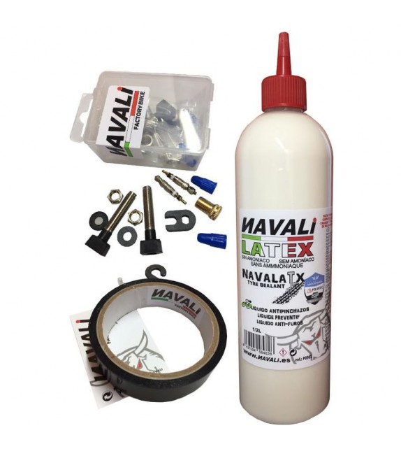 Kit Tubeless Navali(11mx20mm-latex 500ml-2 Valvula Fina 44 Mm)