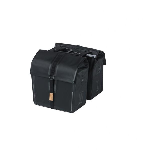 Alforjas Basil Urban Dry+placa Adaptadora Mik Impermeable 50l Negro Mate Reflectante