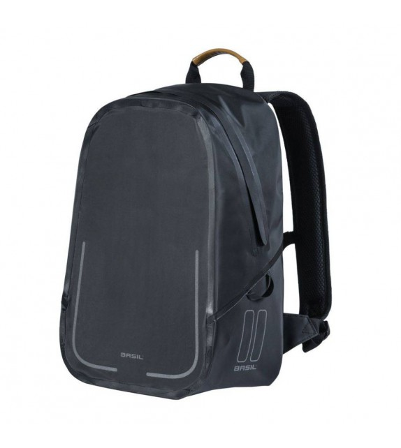 Mochila Basil Urban Dry Backpack C/reflectante Negro Mate Impermeable 18l