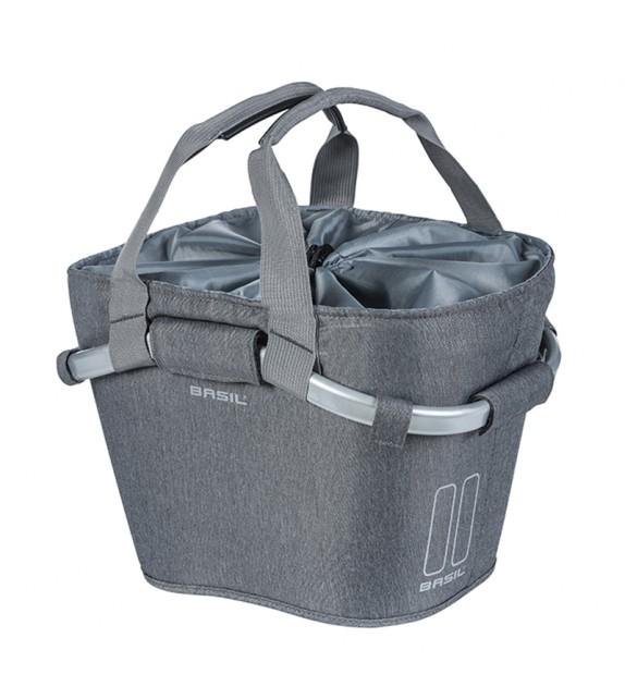 Cesto Con Asa Delantera Basil 2day Carry Poliester Con Placa Adaptadora Kf Gris