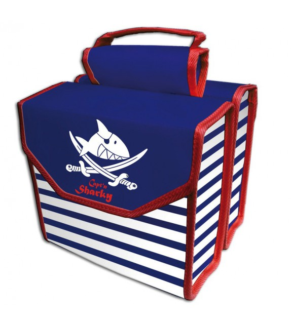 Bolsa Doble Capt´n Sharky 230x200x80 Mm, Blanco/azul/rojo