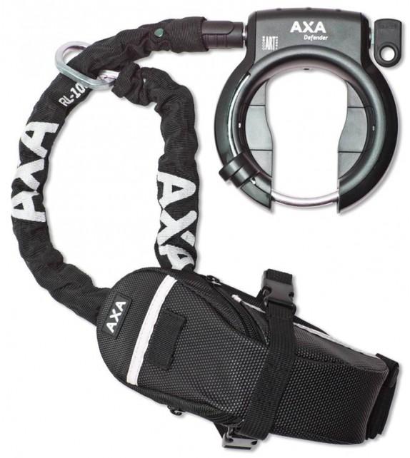 Candado Cuadro Axa Defender Rl 100+cadena+bolsa Apertura Ancho 50 Mm Negro