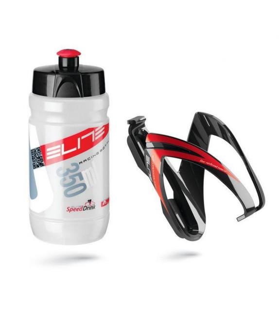Kit Elite Ceo Negro/rojo Bidon Transparente/rojo