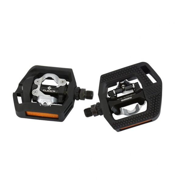 Pedales Shimano Trekking Spd Pd-t421 Fijacion 1 Cara Dureza Regulable ,calas Incluidas Negro